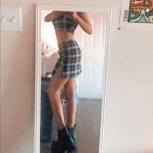 SHEIN Skirts - SHEIN matching plaid crop top and skirt set!!!💗✨✨